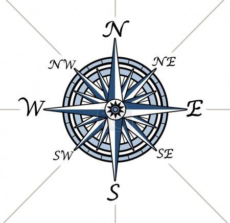 Photo pour Rose des vents sur fond blanc, ce qui représente une cartographie positionnement symbole de direction pour la navigation et en définissant un tableau pour l'exploration au nord e Sud - image libre de droit