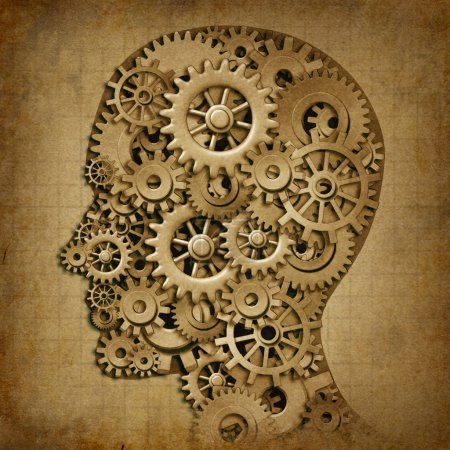 Photo for Human brain intelligence grunge machine medical symbol with old texture made of cogs and gears representing strategy and psychological mental neurological activ - Royalty Free Image
