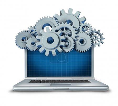 Photo pour Symbole de Cloud Computing représenté par un cloud constitué d'engrenages et de rouages au-dessus d'un ordinateur portable fournissant du contenu numérique en streaming depuis un serveur distant vers la com - image libre de droit