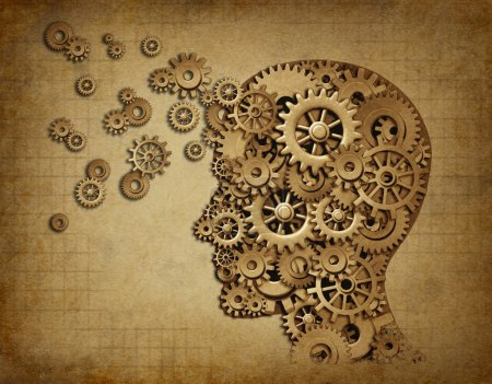 Photo for Human intelligence brain function with grunge texture made of machine cogs and gears representing education and teaching of strategy and psychological mental ne - Royalty Free Image
