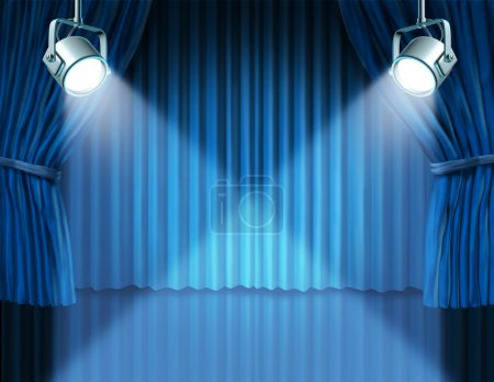 Spotlights on blue velvet cinema curtains