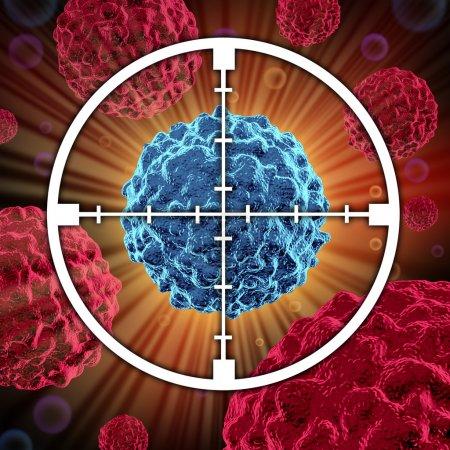 Photo pour Traitement de cellules cancéreuses propagation et de plus en plus comme des cellules malignes dans un corps humain causé par des carcinogènes environnementaux et de la génétique montrant un objectif visant à - image libre de droit