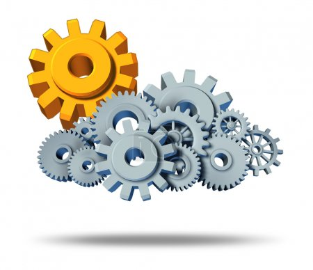 Photo for Safe cloud computing security in protected servers and the assurance of virtual apps for computers hooked up with the cloud showing gears with a gold sun gear - Royalty Free Image