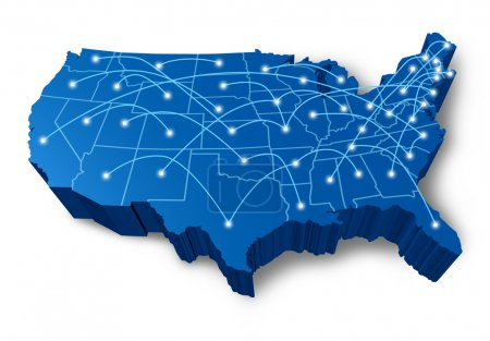 U.S.A 3D map communication network