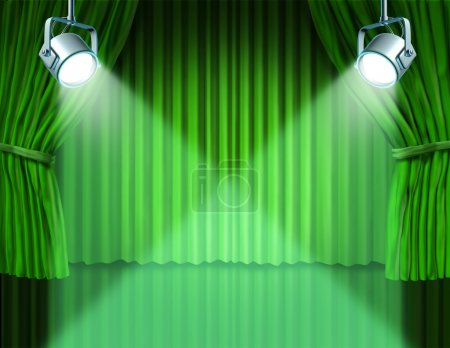 Spotlights on green velvet cinema curtains