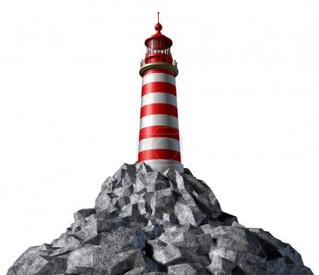 Photo pour Phare sur une montagne rocheuse et symbole d'orientation stratégique avec un concept de phare sur un fond blanc de la tour haute pour la sécurité et directio clair - image libre de droit
