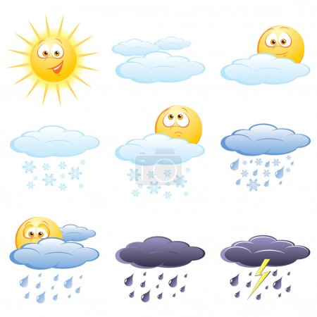 Illustration for Set of the weather icons - Royalty Free Image