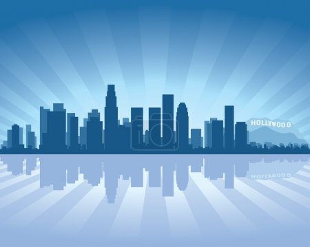 Illustration for Los Angeles skyline with reflection in water - Royalty Free Image