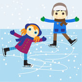 Ice skating boy and girl vector illustration