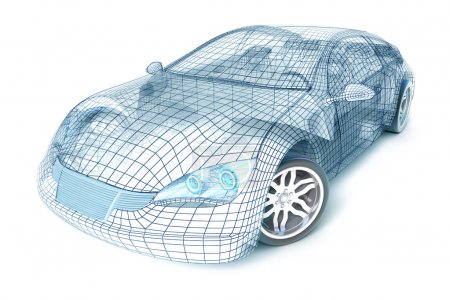Photo for Car design, wireframe model. - Royalty Free Image