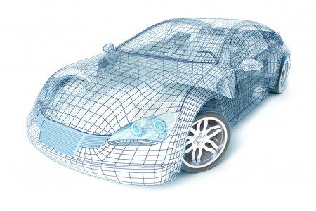 Car design, wireframe model.