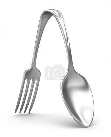 Spoon and fork hybrid. 3D concept