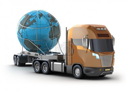 Modern truck transporting the globe isolated on white.