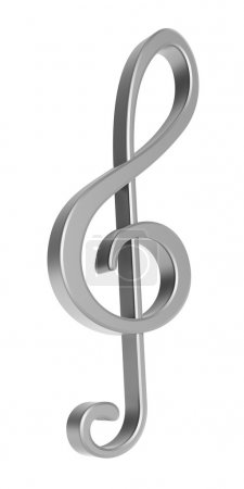 Silver 3D treble clef over white background