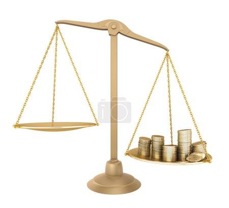 Photo pour Or balance. quelque chose de plus que l'argent. concept 3d isolé - image libre de droit