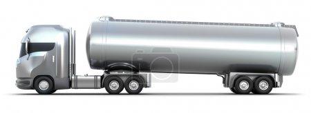 Oil Tanker truck. 3D image