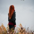 Pretty girl with red hair looking on small plane...