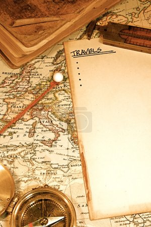 Photo for Vintage (1907 copyright EXPIRED) map of a world traveler - Royalty Free Image