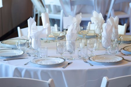 Photo for Wedding reception table top with flatware and place settings - Royalty Free Image