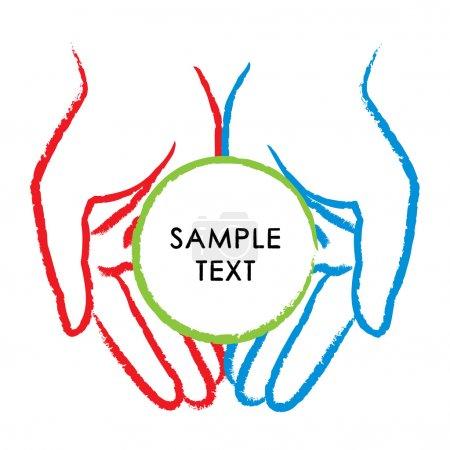 Vector illustration of hands...