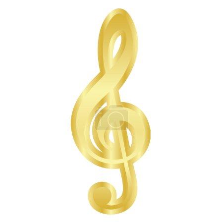 Vector gold treble clef