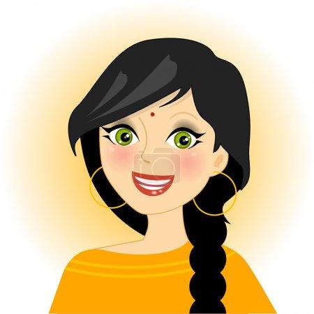 Illustration pour Illustration vectorielle de fille indienne souriante - image libre de droit