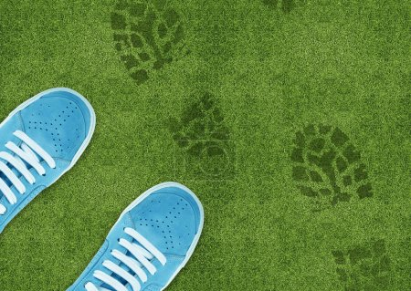Blue Shoe print on green grassland....