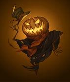 Pumpkin scarecrow vector illustration