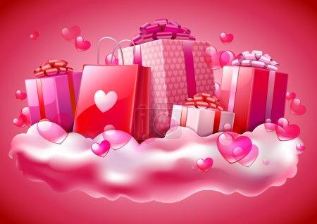 Illustration pour Cadeaux pour la Saint Valentin, illustration vectorielle - image libre de droit