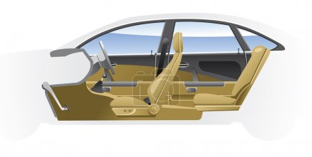 Illustration for Cutaway Car Illustrations. (Simple gradients only - no gradient mesh.) - Royalty Free Image