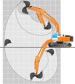 Working range of an excavator