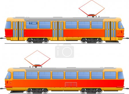Illustration for Illustration tram. side view. (Simple gradients only - no gradient mesh.) - Royalty Free Image