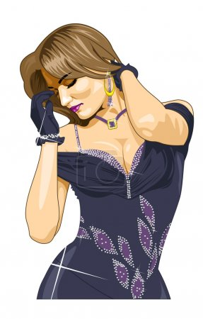 Vector illustration beautiful girl in evening dres...