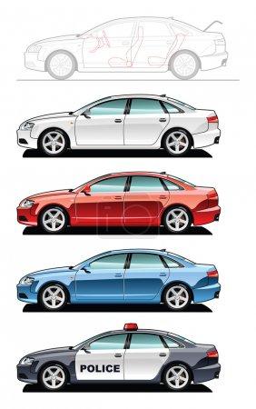 Illustration pour Un vecteur .eps 8 illustration de voitures. (Gradients simples seulement - pas de gradient.) - image libre de droit
