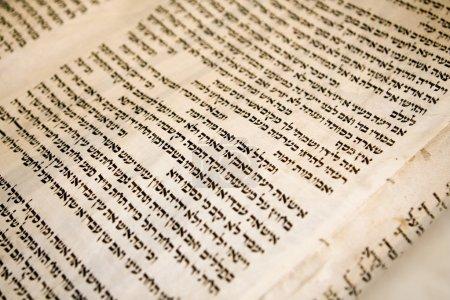 Photo pour Texte hébreu sur un panneau d'un rouleau antique de la Torah vieux de 150 ans. Les coutures traditionnelles qui maintiennent les panneaux de parchemin ensemble sont visibles . - image libre de droit