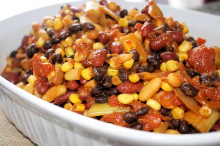 Casserole dish of vegetarian chili - healthy and n...
