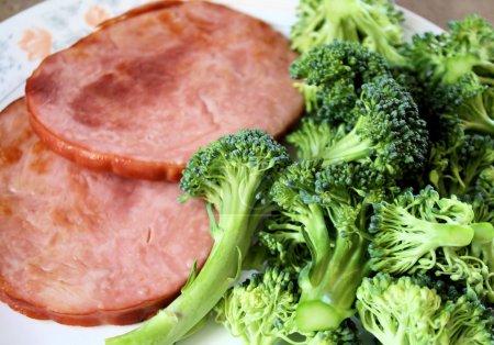 Lean Roasted Ham With Fresh Broccoli
