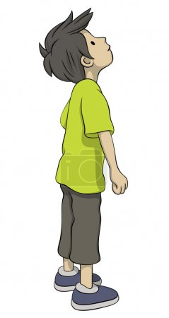 Illustration for Boy is looking up - Royalty Free Image