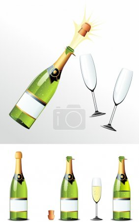 Photo for Bursting Champagne Bottle + closed Champagne Bottle + full and empty glasses - Royalty Free Image