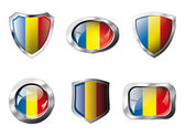 Romania set shiny buttons and shields of flag with metal frame - vector illustration Isolated abstract object against white background