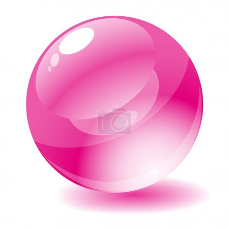 Illustration for Vector illustration. Pink glossy circle web button. - Royalty Free Image