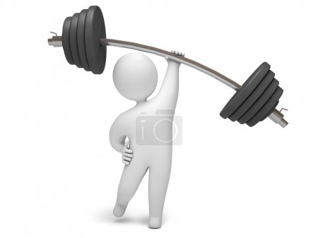 Photo for Man lifting barbell with one hand, on a white background, 3d render - Royalty Free Image