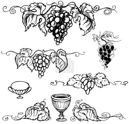 Illustration pour Cadre de raisins mûrs, image monochrome, sur fond blanc. Illustration vectorielle - image libre de droit