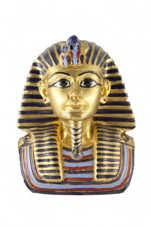 A gold statue of Tutankhamun isolated in white background