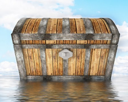 Treasure chest standing in water