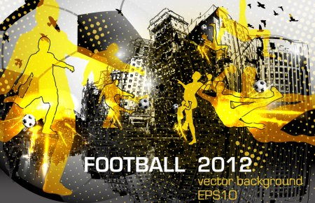 Illustration for Football, flyer design with player in city - Royalty Free Image