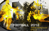 Football flyer design with player in city