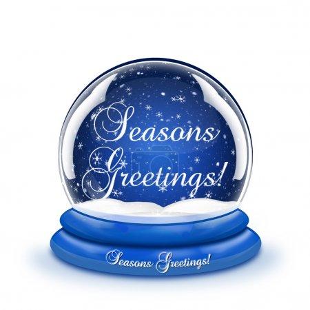 Photo pour Une boule à neige avec les mots Saisons Salutations à l'intérieur . - image libre de droit