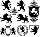 Set of vector black heraldry silhouettes including lions crowns shields and garland