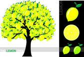 Illustration of a cartoon lemon tree isolated on white background